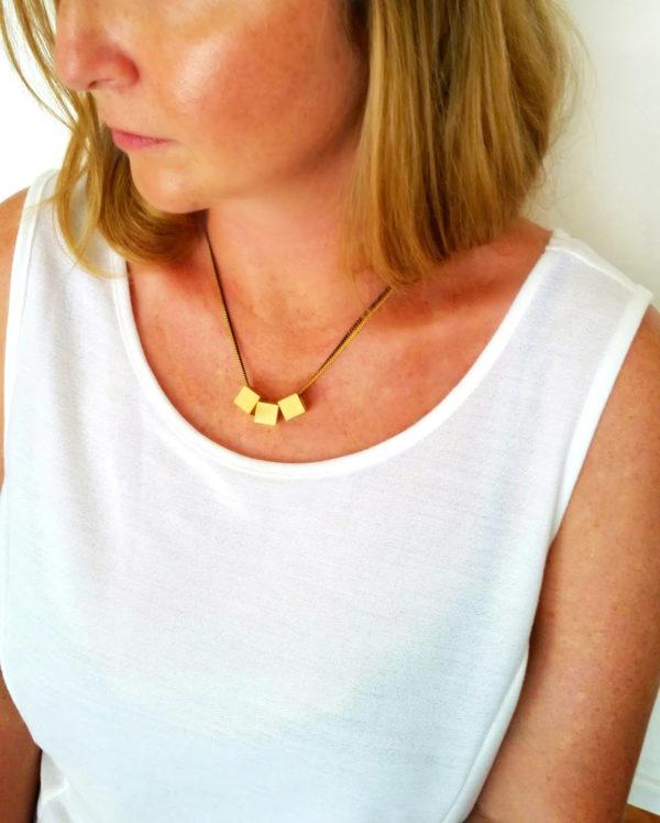 hollow cubes necklace
