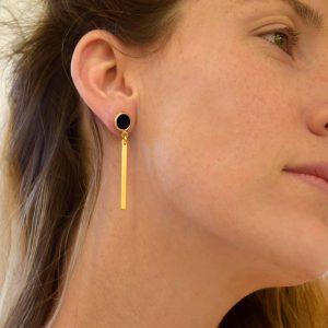 עגילים תלויים מצופים זהב 24K מדגם Stripes